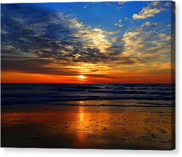 Electric Golden Ocean Sunrise Canvas Print by Dianne Cowen