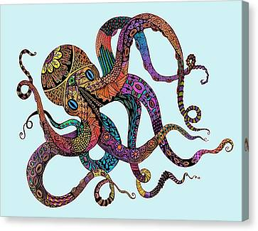 Electric Octopus - Customizable Background Canvas Print by Tammy Wetzel