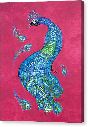 Electric Peacock Canvas Print by Michelle Stone