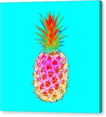 Electric Pineapple Canvas Print by Marianna Mills
