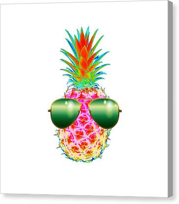 Electric Pineapple With Shades Canvas Print