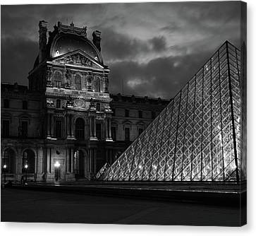 Canvas Print featuring the photograph Electric Pyramid, Louvre, Paris, France by Richard Goodrich