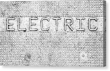 Electric Safety Cover Signage Canvas Print by Denise Beverly
