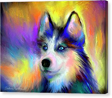 Electric Siberian Husky Dog Painting Canvas Print