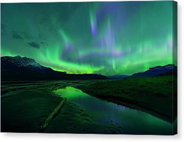 Canvas Print featuring the photograph Electric Skies Over Jasper National Park by Dan Jurak