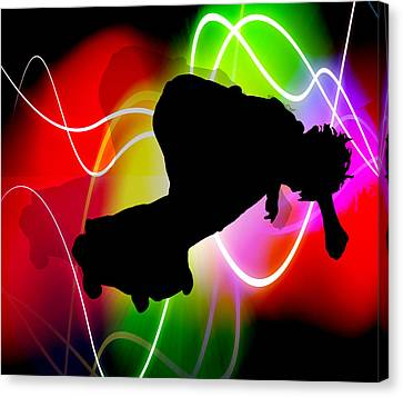 Electric Spectrum Skateboarder Canvas Print by Elaine Plesser