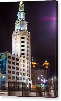 Canvas Print featuring the photograph Electric Tower From Behind  by Don Nieman