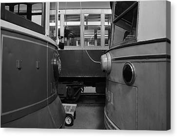 Electric Trains Nose To Nose Bw Canvas Print