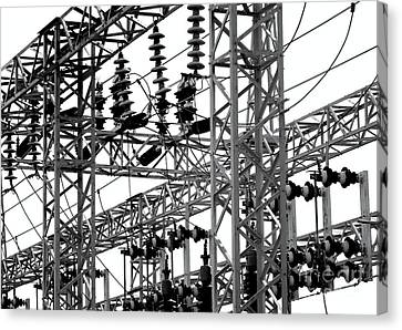 Canvas Print featuring the photograph Electrical Substation With Large Insulators by Yali Shi