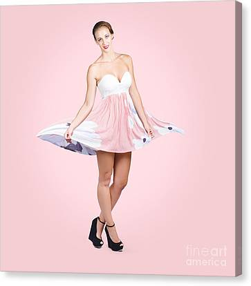 Youthful Canvas Print - Elegant Brunette Girl In Pink Floral Fashion Dress by Jorgo Photography - Wall Art Gallery
