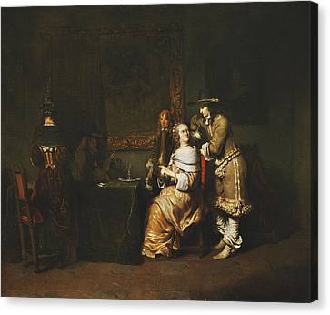 Elegant Company Playing Cards In An Interior Canvas Print by Gerbrandt van den Eeckhout