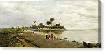 Elegant Figures At The Shore Canvas Print by Konstantinos Volanakis