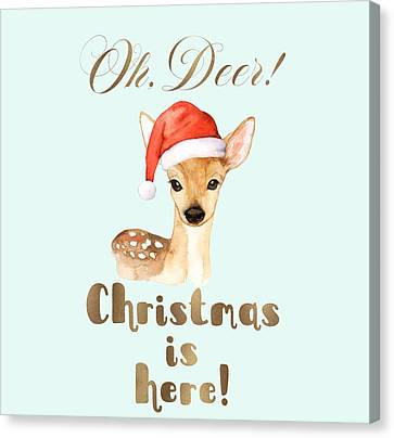 Canvas Print - Elegant Gold Oh Deer Christmas Is Here Deer Santa by Georgeta Blanaru