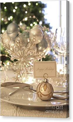 Elegant Holiday Dinner Table With Focus On Place Card Canvas Print by Sandra Cunningham