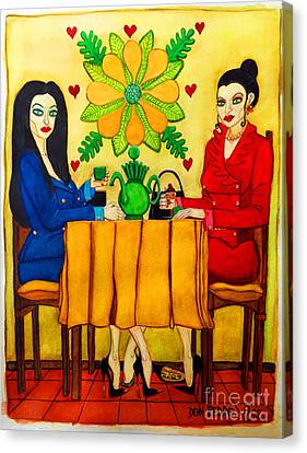 Canvas Print featuring the painting Elegant Ladies In A Coffee-shop by Don Pedro De Gracia