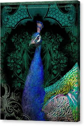 Elegant Peacock W Vintage Scrolls  Canvas Print by Audrey Jeanne Roberts