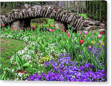 Elegant Sunken Garden Stone Bridge Centennial Park Artistic Canvas Print