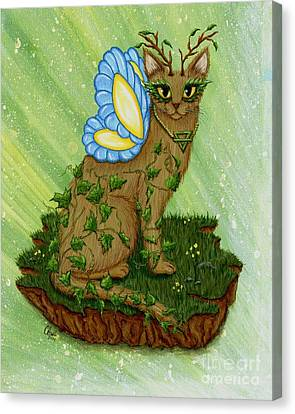 Elemental Earth Fairy Cat Canvas Print by Carrie Hawks