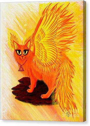 Elemental Fire Fairy Cat Canvas Print by Carrie Hawks