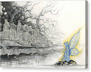 Elemental Praying For The End Of Industrial Pollution Canvas Print by Alma