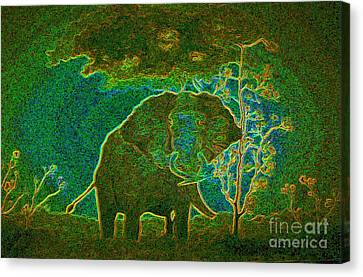 Canvas Print featuring the painting Elephant Abstract by John Stuart Webbstock