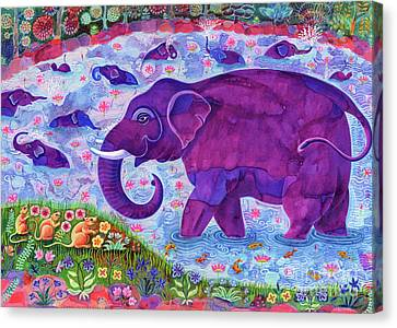 African Violets Canvas Print - Elephant And Mice by Jane Tattersfield