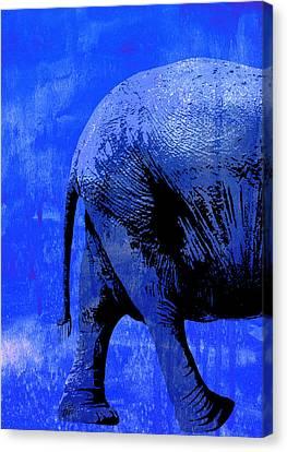 Elephant Animal Decorative Blue Wall Poster 9 - By Diana Van Canvas Print by Diana Van