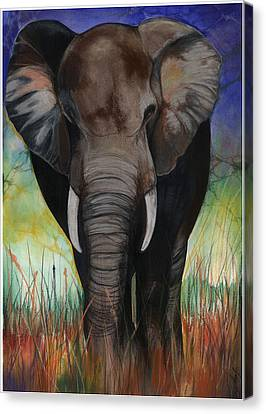 Black Artist Canvas Print - Elephant by Anthony Burks Sr