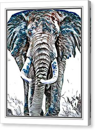Elephant Asian Ink Abstract  Canvas Print by Scott Wallace