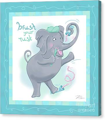 Elephant Bath Time Brush Your Tusk Canvas Print by Shari Warren