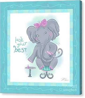 Elephant Bath Time Look Your Best Canvas Print by Shari Warren