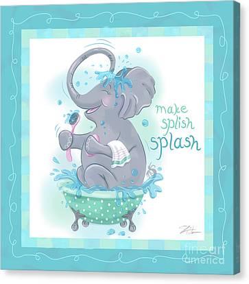 Elephant Bath Time Splish Splash Canvas Print by Shari Warren