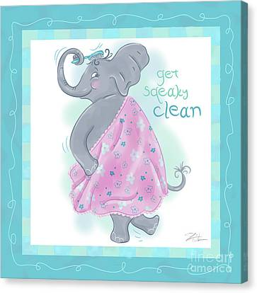 Elephant Bath Time Squeaky Clean Canvas Print by Shari Warren