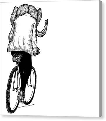 Elephant Bike Rider Canvas Print by Karl Addison
