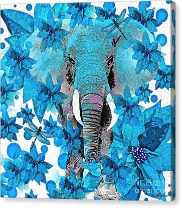 Elephant  Blue Canvas Print