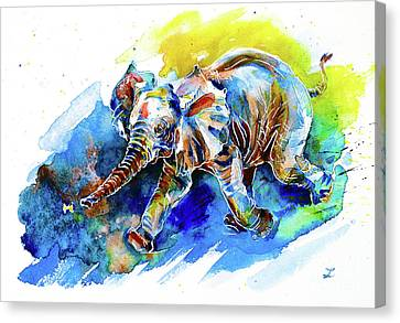 Canvas Print featuring the painting Elephant Calf Playing With Butterfly by Zaira Dzhaubaeva