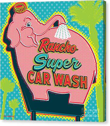 Elephants Canvas Print - Elephant Car Wash - Rancho Mirage - Palm Springs by Jim Zahniser