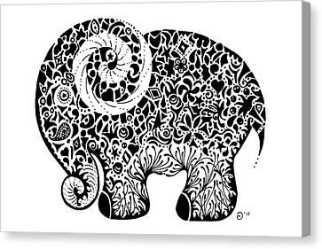 Elephant Doodle Canvas Print by Jacqueline Eden