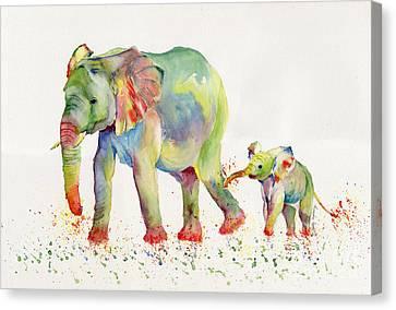 Elephant Family Watercolor  Canvas Print
