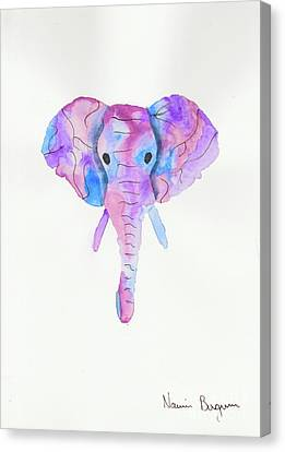 Elephant Head In Watercolour  Canvas Print