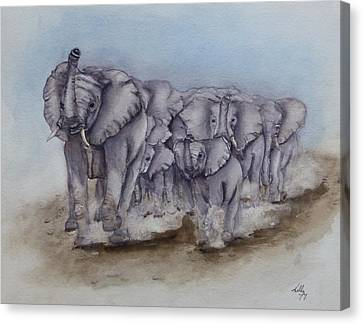 Galloping Elephant Canvas Print - Elephant Herd Gallop by Kelly Mills