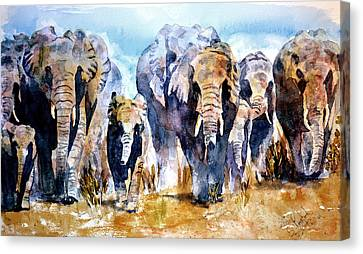 Canvas Print featuring the painting Elephant Herd by Steven Ponsford