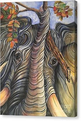 Elephant Holding A Tree Branch Canvas Print
