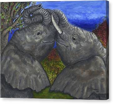 Elephant Hugs Canvas Print by Tanna Lee M Wells