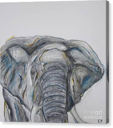 Elephant In Blue And Orange Canvas Print
