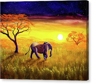 Yellow Elephant Canvas Print - Elephant In Purple Twilight by Laura Iverson