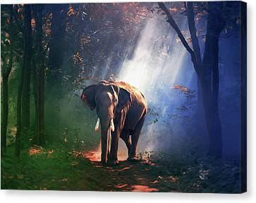 Sun Rays Canvas Print - Elephant In The Heat Of The Sun by Georgiana Romanovna