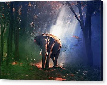 Elephant In The Heat Of The Sun Canvas Print by Georgiana Romanovna