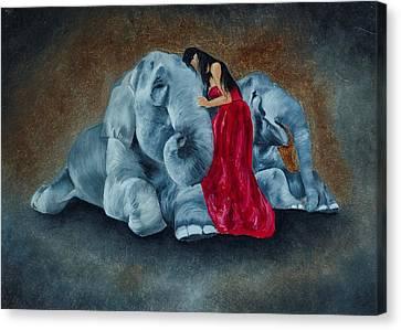 Elephant Love Canvas Print by Deepak Deshmukh