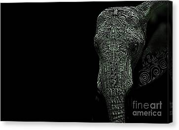 Pyrography Canvas Print - Elephant Monokrom by Andy Maryanto
